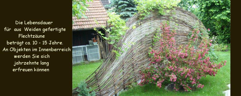 Weidengeflecht als dekorativer Platztrenner